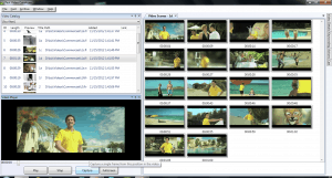 Multiple thumbnails per video with video list in fast Video Cataloger