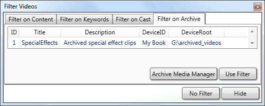 How to archive video files with the filter dialog