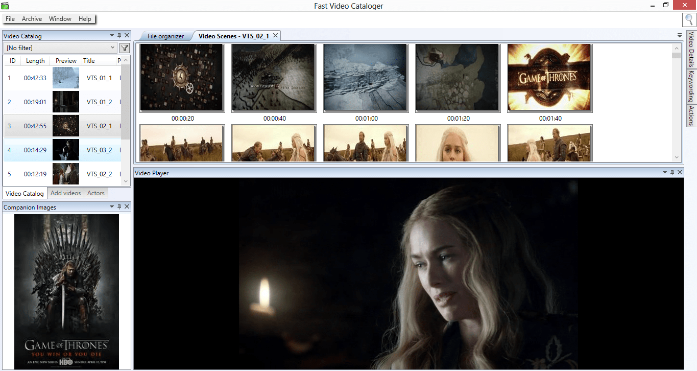 How to use Companion images in Fast Video Cataloger 2