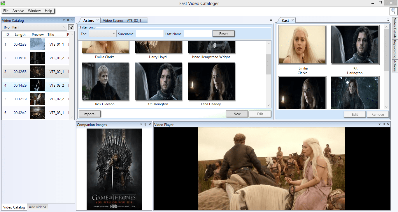 How to add actors to your video clip in Fast Video Cataloger 2