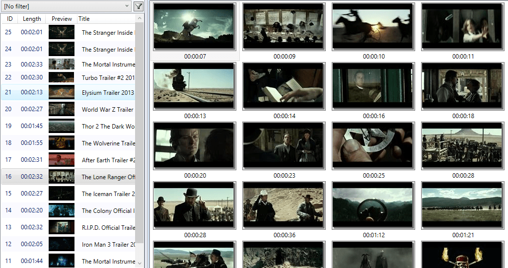 Viewing a series of captured video clip frames
