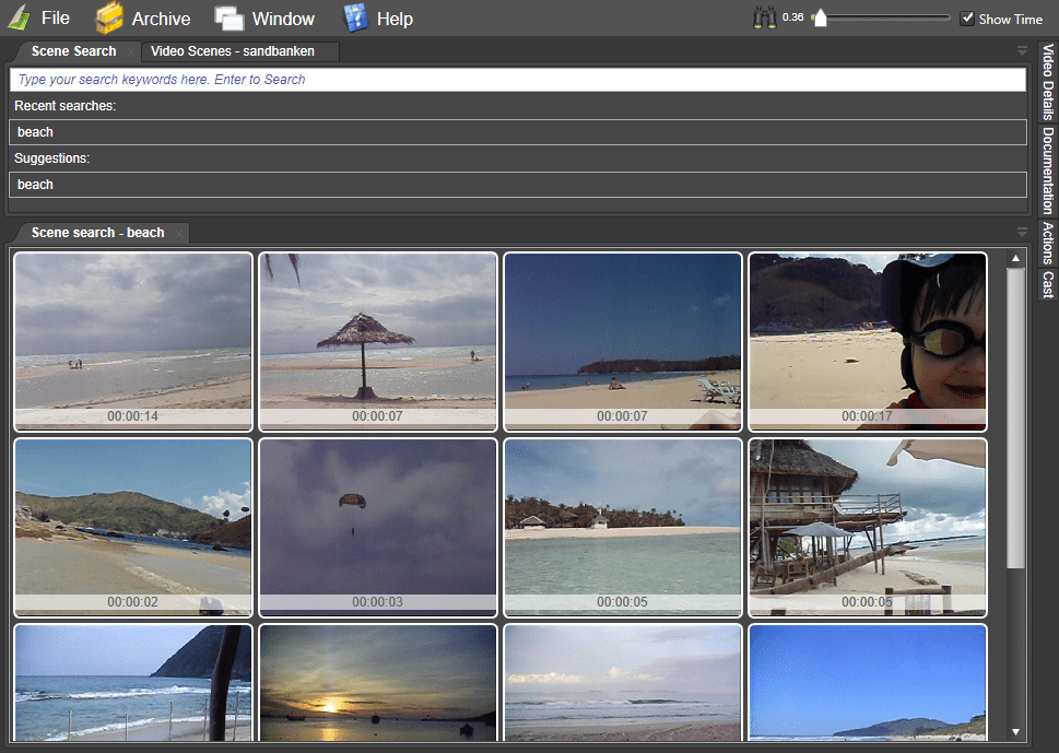 Search results on video scenes
