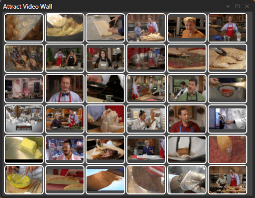 Attract video wall showing food videos - this is how to handle large collections of movies!