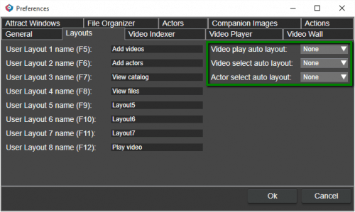Select layout automatically when playing a video