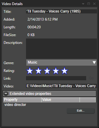 Extended video properties - custom video properties from the video details window