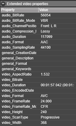 Extended video properties