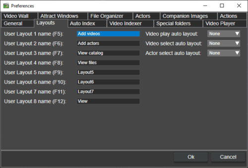 layouts in fast video cataloger