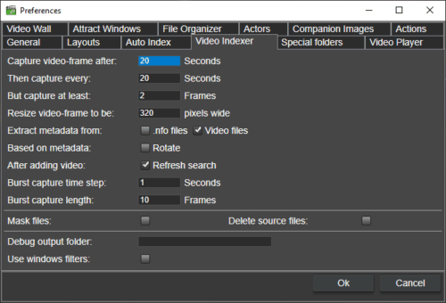 Preferences for video indexing