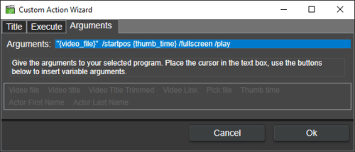 arguments to media player classic