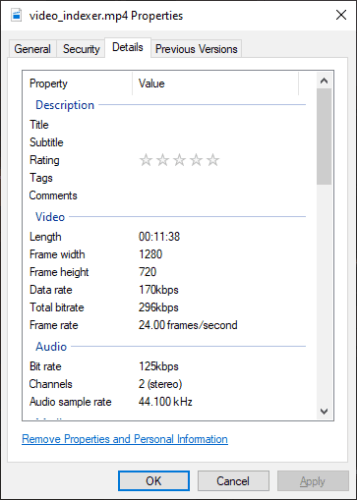 Tags in video file details