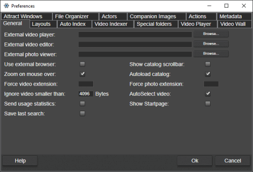 general preferences in fast video cataloger 7